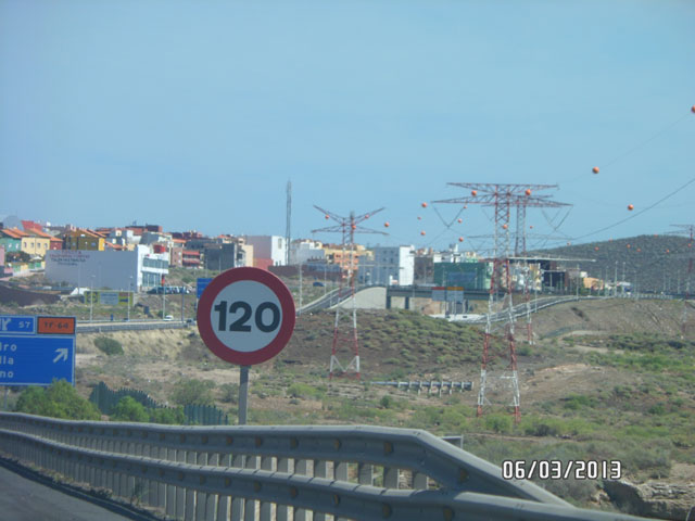 Ограничение скорости на автомагистралях Тенерифе 120км/ч