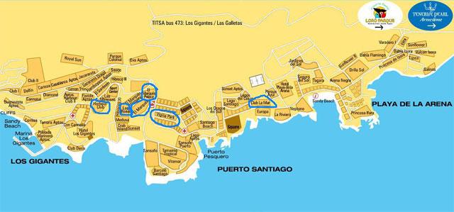 Карта Los Gigantes, Puerto Santiago, Playa Arena
