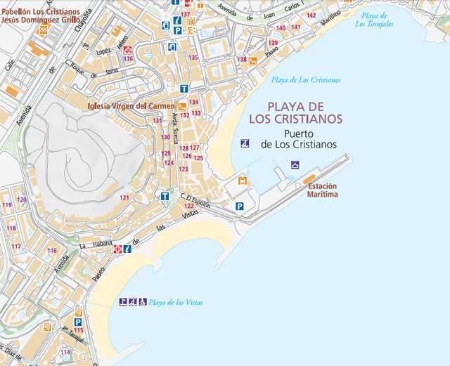 Карта курорт Лос Кристианос на Тенерифе